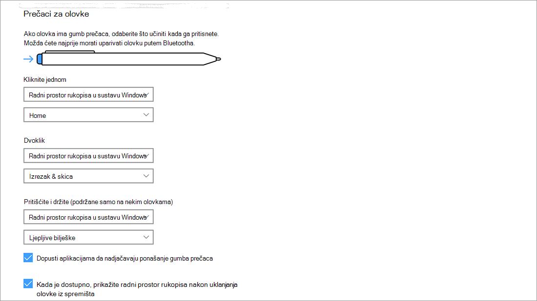 Postavke prečaca olovke u odjeljku Start > Postavke > Uređaji > Olovka i Windows Ink.
