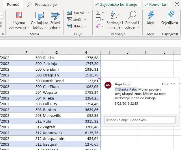 Snimka zaslona unošenja komentara u programu Excel