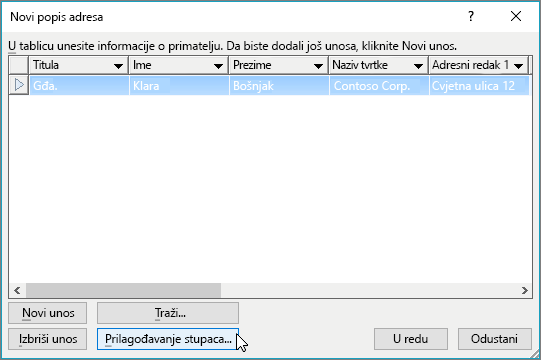 Da biste na popis za slanje poruka e-pošte dodali prilagođene stupce, kliknite gumb Prilagođavanje stupaca.