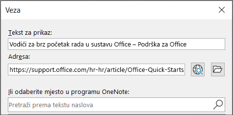 Snimka zaslona s prikazom dijaloškog okvira u programu OneNote. Sadrži dva polja za upisivanje: Tekst za prikaz i Adresa.