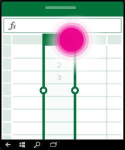 Crtež na kojem se prikazuje odabir ili uređivanje u stupcu