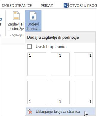 slika naredbe ukloni brojeve stranica odabrane u galeriji brojeva stranica