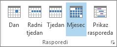 Grupa Rasporedi na kartici Polazno: dan, tjedan, radni tjedan, mjesec i raspored