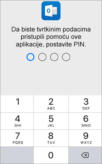 Da biste pristupili podacima tvrtke ili ustanove, postavite PIN.
