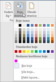 Prikazuju se mogućnosti boje stranice