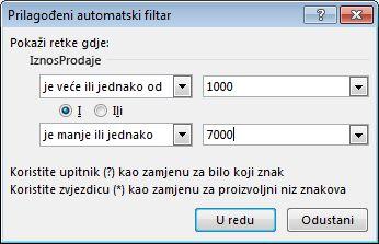 Dijaloški okvir Prilagođeni automatski filtar