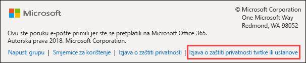 Office 365 Groups podnožje dobrodošlice
