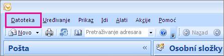 U programu Outlook 2007 odaberite karticu Datoteka.