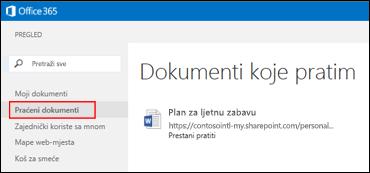 Snimka zaslona dokumenata sa servisa OneDrive za tvrtke koje pratite u sustavu Office 365.