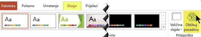 U programu PowerPoint gumb Oblikuj pozadinu nalazi se na kartici Dizajn na vrpci