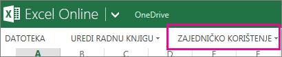 Naredba Zajedničko korištenje na vrpci aplikacije Excel Online u prikazu za čitanje