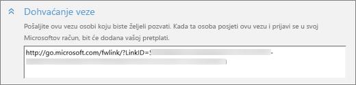 """Snimka zaslona krupnom odjeljka """"Dohvati vezu"""" dijaloškog okvira """"Dodavanje osobe""""."""