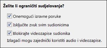 Snimka zaslona mogućnosti sastanka za ograničavanje sudjelovanja