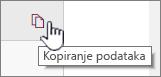 Kliknite ikonu kopiju podataka da biste kopirali trenutne podatke web dio