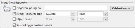 Postavljanje datuma i vremena za isporuku poruke.