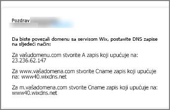 Na servisu Wix.com koristite ove postavke DNS zapisa