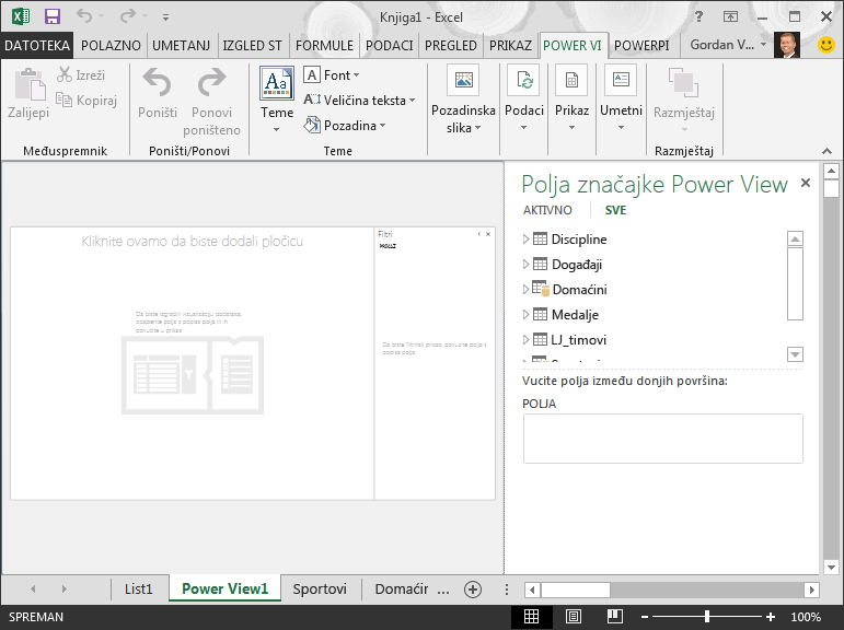prazno izvješće značajke Power View u programu Excel