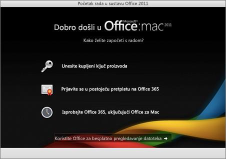 Snimka zaslona sa stranicom dobrodošlice za Office za Mac 2011