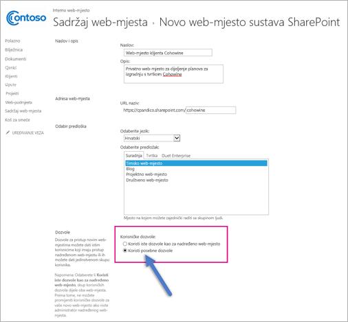 Na stranici Nova web-mjesta sustava SharePoint, odaberite mogućnost Jedinstvene dozvole.