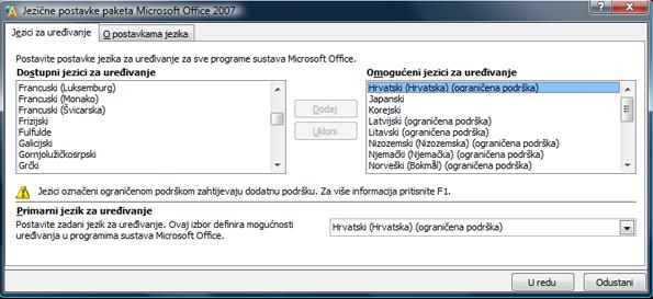 Jezične postavke u sustavu Office 2007