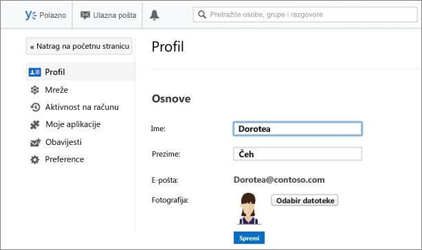 Osnovni podaci o profilu