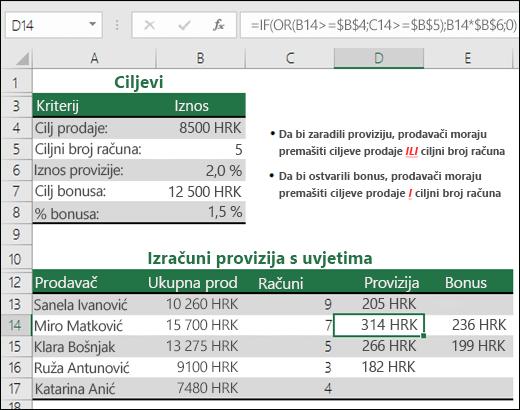 Primjer korištenja funkcija IF i OR za izračunavanje provizije za prodaju.