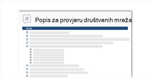 Konceptualna slika kontrolni popis za društvene mreže