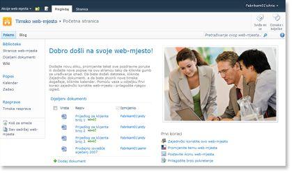 Web-mjesto tima za SharePoint