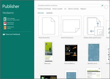 Snimka zaslona na kojoj se prikazuju predlošci na početnom zaslonu programa Publisher.