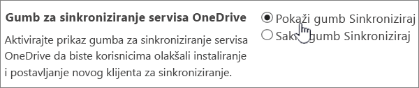 Administratorske postavke za gumb za sinkronizaciju servisa OneDrive