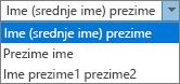 Mogućnosti programa Outlook za osobe, a zatim prikazuje narudžbe za ime i prezime mogućnosti popisa.