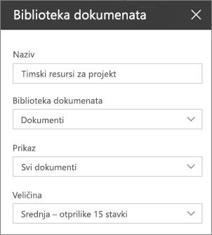 Postavke dijela web biblioteke dokumenata