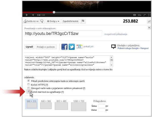 Povezivanje s videozapisom na servisu YouTube