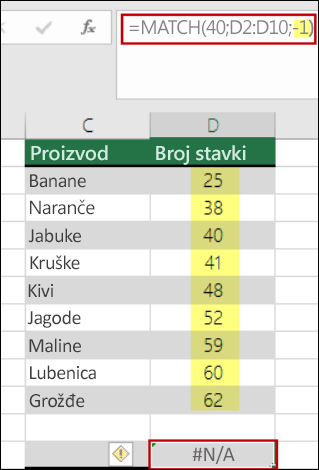 Funkcija match u programu Excel