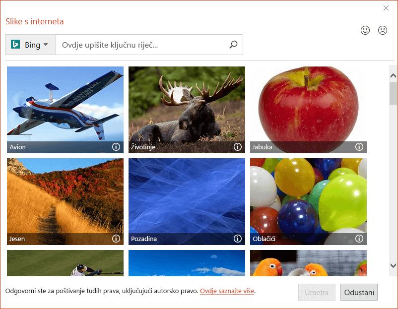 Dijaloški okvir Internetske slike u sustavu Office 2016