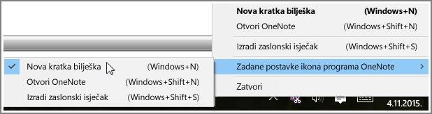 Snimka zaslona palete sustava s mogućnostima programa OneNote.