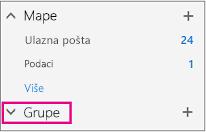 Pronaći ćete čvor grupe u lijevom navigacijskom oknu u programu Outlook na webu