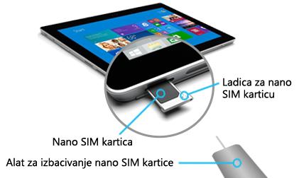 Umetanje nano SIM-a u površinu 3 (4G-LTE)