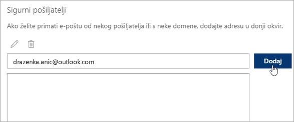 Snimka zaslona s okvirom sigurnih pošiljatelja