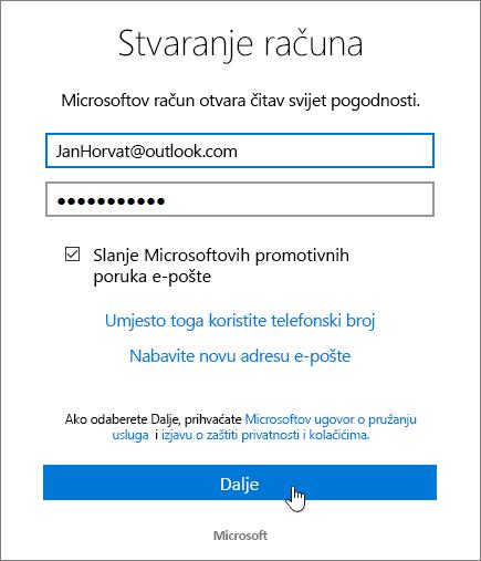 Snimka prikazuje dijaloški okvir s Microsoftovim Account Stvori.