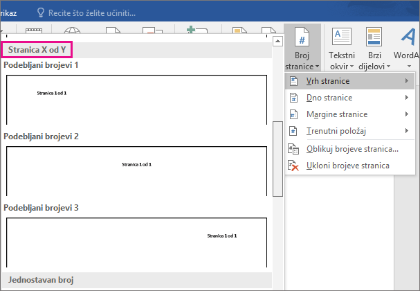 """U galeriji stilova broja stranice pomaknite se do stilova """"Stranica X od Y""""."""