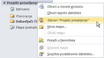 naredba zatvori podatkovnu datoteku sustava outlook (.pst)