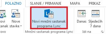 Kliknite Novi sastanak programa Lync.