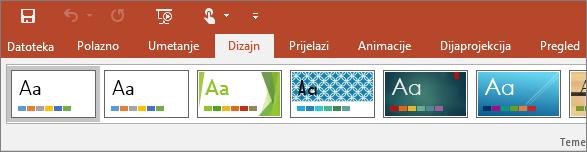 Pokazuje karticu dizajna na vrpci u programu PowerPoint