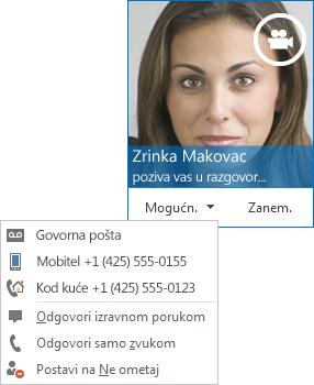 Snimka zaslona s upozorenjem o videopozivu sa slikom kontakta u gornjem kutu