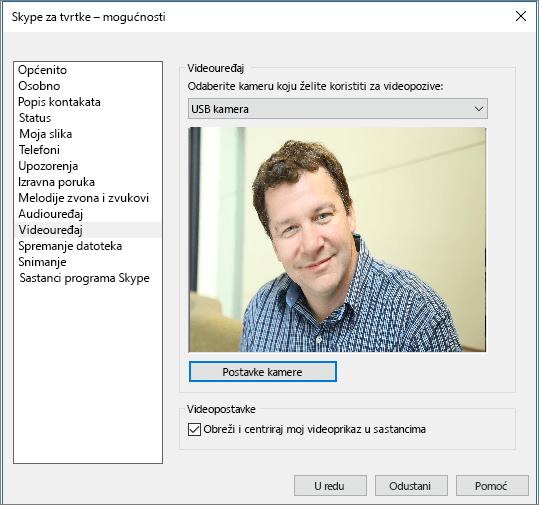 Snimka zaslona na kojoj se prikazuje stranica Videouređaji dijaloškog okvira Mogućnosti Skypea za tvrtke.