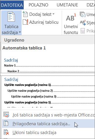 Prilagođena tablica sadržaja