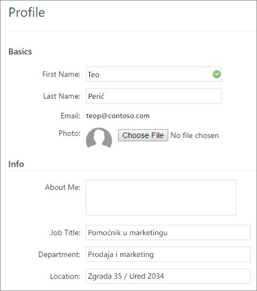 Snimka zaslona Uređivanje profila korisnika servisa Yammer
