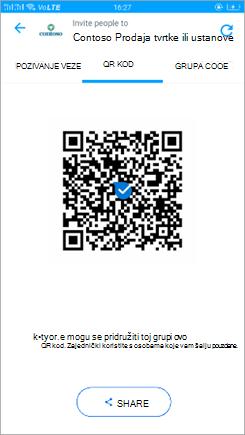 Snimka zaslona QR koda u programu Kaizala