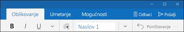 Kartica Oblikovanje u aplikaciji Pošta programa Outlook